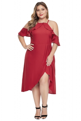 Red Off Shoulder Drop Sleeve Plus Size Dress