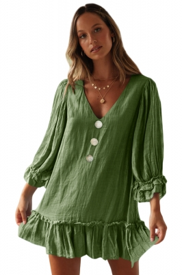 Green Casual Loose V Neck Short Swing Dress