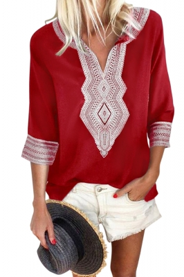 Red Summer Boho Embroidered V Neck Loose Blouse