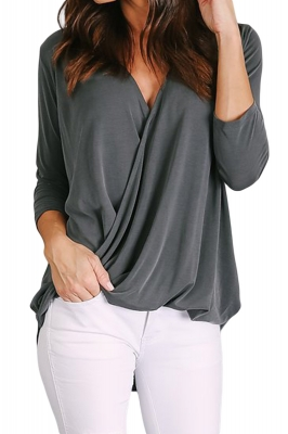 Gray Wrap Hi-lo Hem Blouse