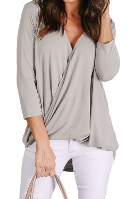 Light Gray Wrap Hi-lo Hem Blouse