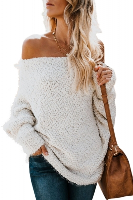 White Off The Shoulder Popcorn Knit Sweater