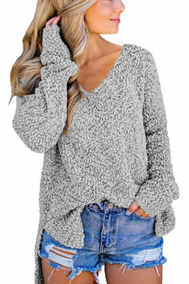 Gray V Neck Popcorn Texture Loose Fit Sweater