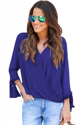 Blue V Neck Ruched Tie Sleeve Top