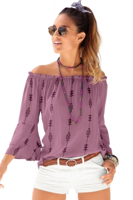Purple Elasticised Neck Floral Print Blouse