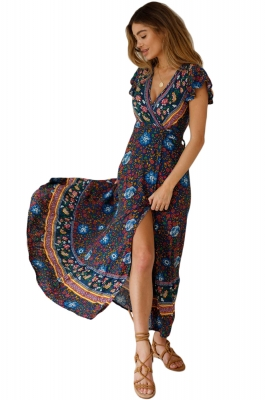 Multicolor V-Neck Beach Resort Printed Dress