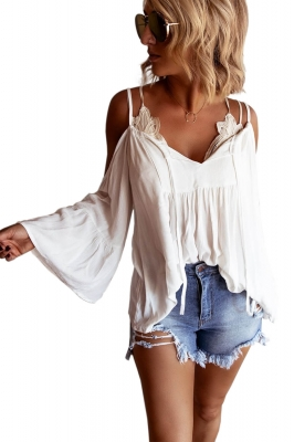 White Flare Sleeve Spaghetti Strap Cold Shoulder Ruffled Blouse