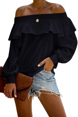 Black Off The Shoulder Ruffle Blouse