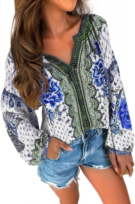 Blue Floral Print Long Sleeve Mid-Length Blouse
