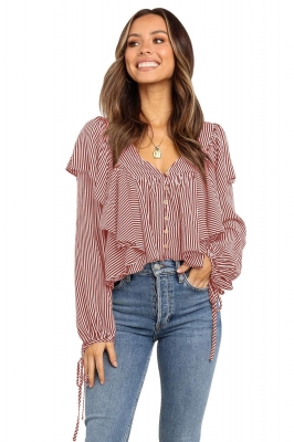 Red Button Ruffle&Tie Striped Shirt