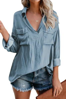 Blue Satin Utility Blouse