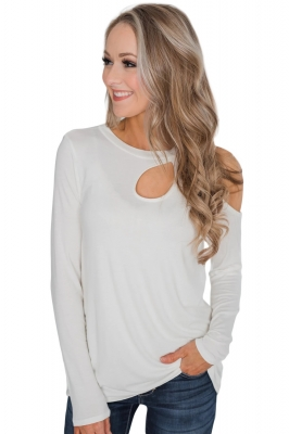 White A Little Something Cold Shoulder Top