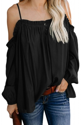 Black Casual Off-Shoulder Ruffled Long Sleeve Pure Colour Top