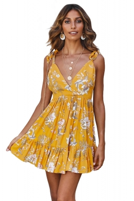 Yellow Surpliced V Neck Shoulder Strap Floral Dress
