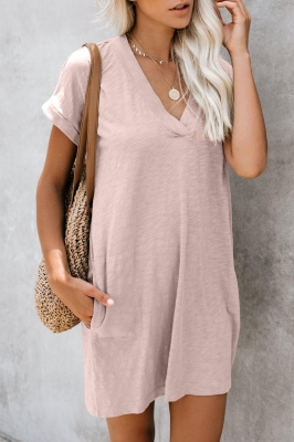 Pink Came To Play Cotton Blend Pocketed T-Shirt Dress