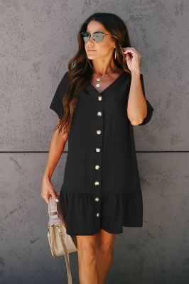 Black Pocketed Button Down Ruffle Dress