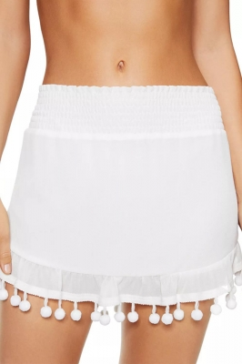 White Tassel Pompom Ruffled Beach Skirt