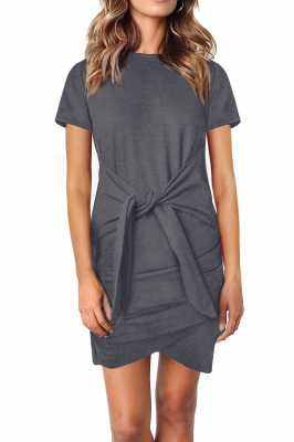 Gray Short Sleeve Tie Waist T-Shirt Mini Dress