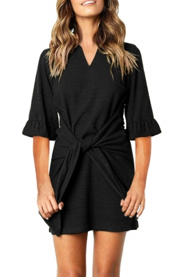 Black V Neck Ruffled Sleeves Waist Tie Mini Dress