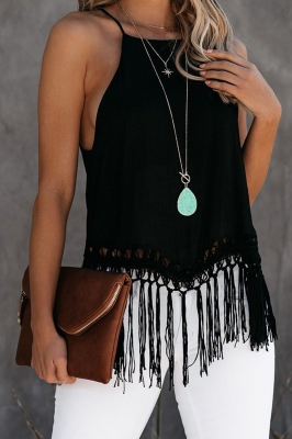 Tanque Global Girl Tassel en negro