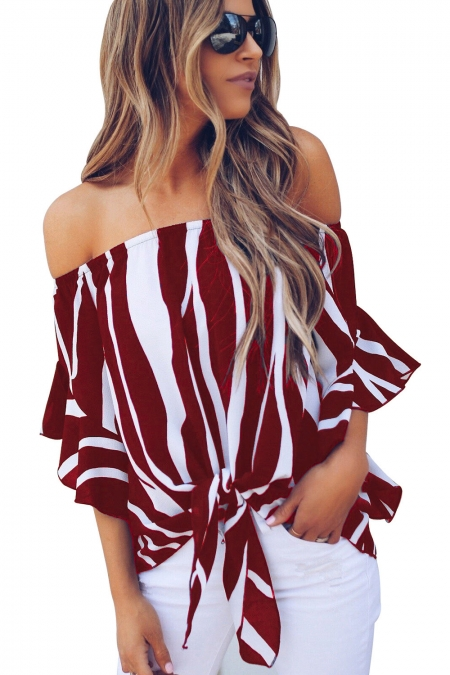 Off The Shoulder Vertical Stripes Blouse in Burgundy