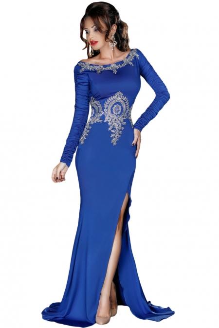 66792b0afe44 Vestido de fiesta de manga larga con adornos de encaje dorado Royal ...