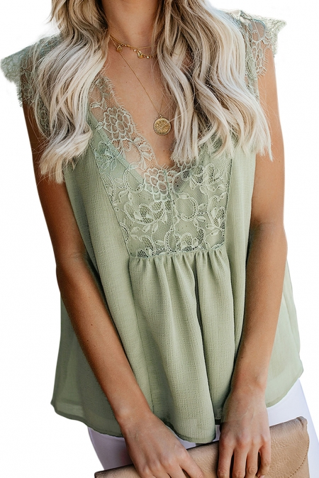 Green From A Dream Lace Tank Top with Vest