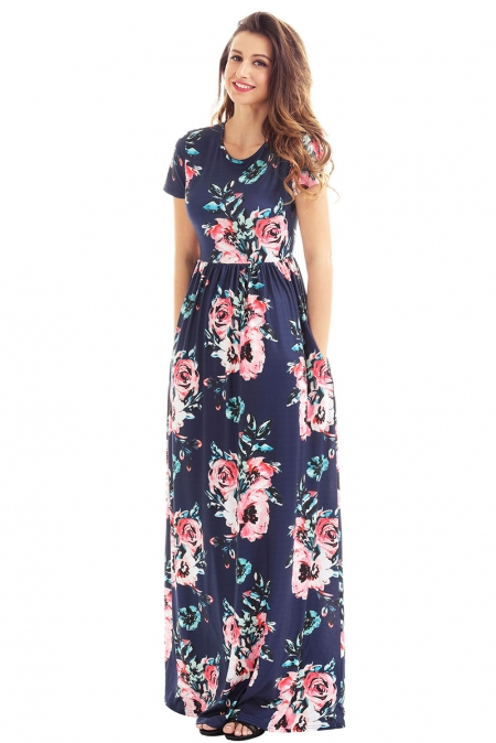 Pocket Design Short Sleeve Navy Blue Floral Maxi Dress
