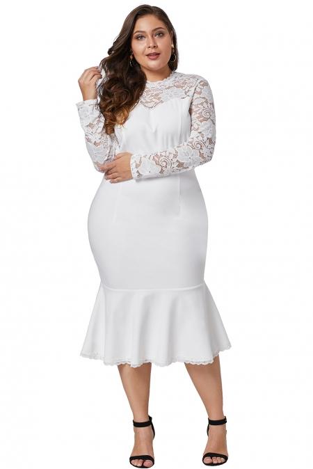 White Plus Size Lace Panel Peplum Hem White Sheath Dress