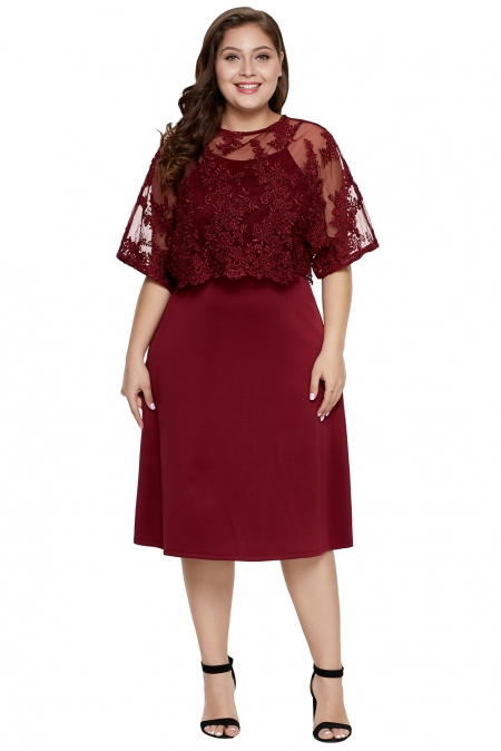 Burgundy Plus-Size Knee-Length MOB Dress with Shawl