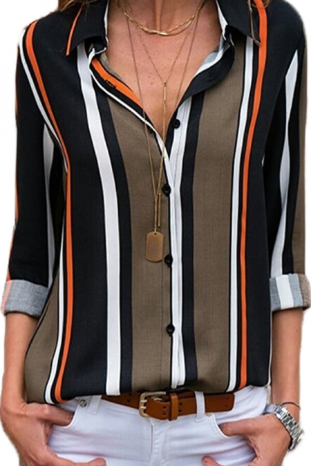 Black Brown Striped Modern Women Shirt