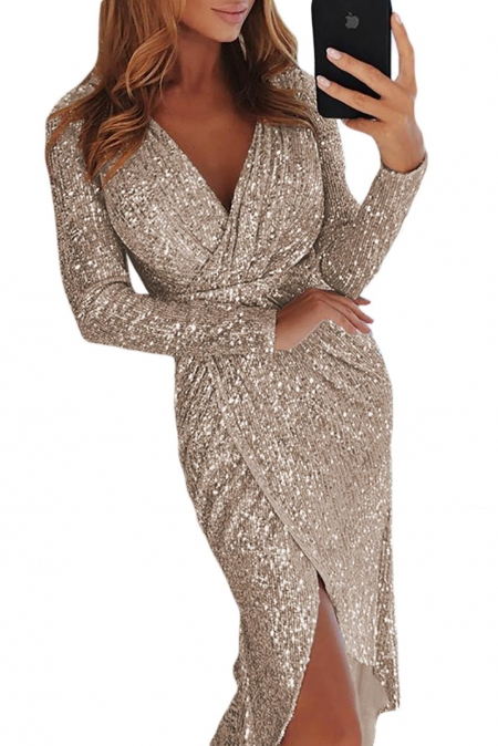 Silver Sequins Wrapped Ruched Irregular Dresses