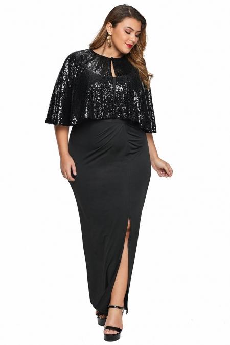 Black Sequin Cape Plus Size Maxi Dress