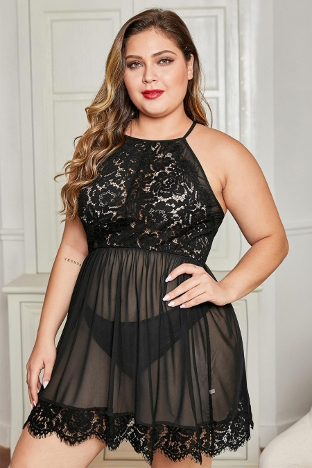 Black Plus Size Sexy Mesh Lace Babydoll with Matching Thong